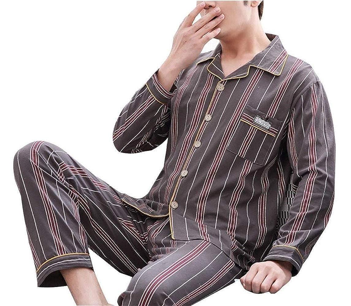 d2e8688b64 Mens Cotton Pajamas Mens Loungewear Set Cotton Set Full Men s Comfortable  Bathing Homewear Pajamas Negligee Two Piece  Amazon.co.uk  Clothing