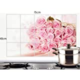 VDNSI Kitchen Wall Cover Stickers Water Proof, Oil Proof and Hot Proof Aluminum Foil (Designs Will Send As per Stock)