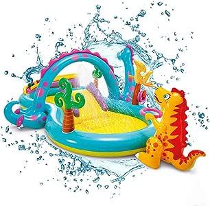 Piscina Infantil Inflable para Niños con Tobogán, Juguetes Y Cabezal De Rociado De Agua: Ideal para La Diversión Al Aire Libre Y En El Jardín para Niños (Dinosaurios) 302 * 229 *