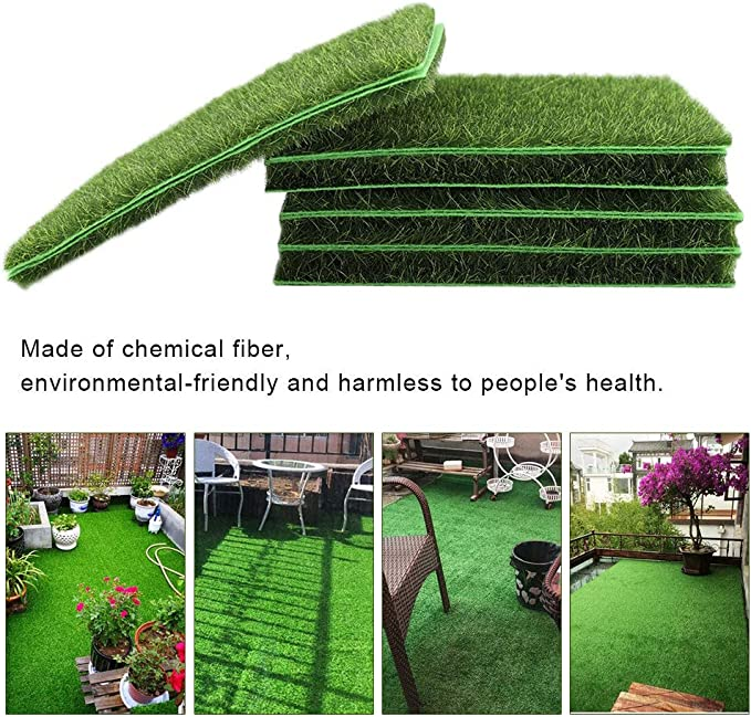 Césped artificial / tapete / césped artificial exterior falso césped verde de alta densidad realista jardín alfombra de césped, 10 unidades, 15 x 15 cm, verde: Amazon.es: Hogar