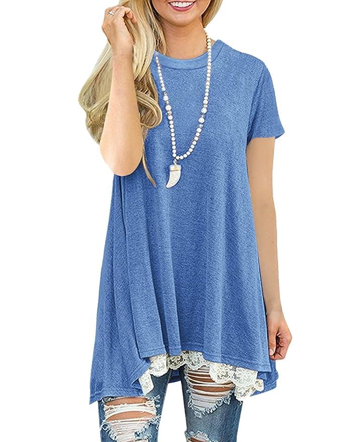 FeelinGirl Mujer Blusa Mangas Cortas Camisa Encaje Verano: Amazon.es: Ropa y accesorios
