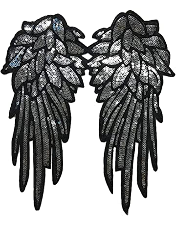 Scrox 1pcs Bordados para Ropa Alas de Angel Patch Sticker Lentejuelas Parches Bordados Moda DIY Accesorios