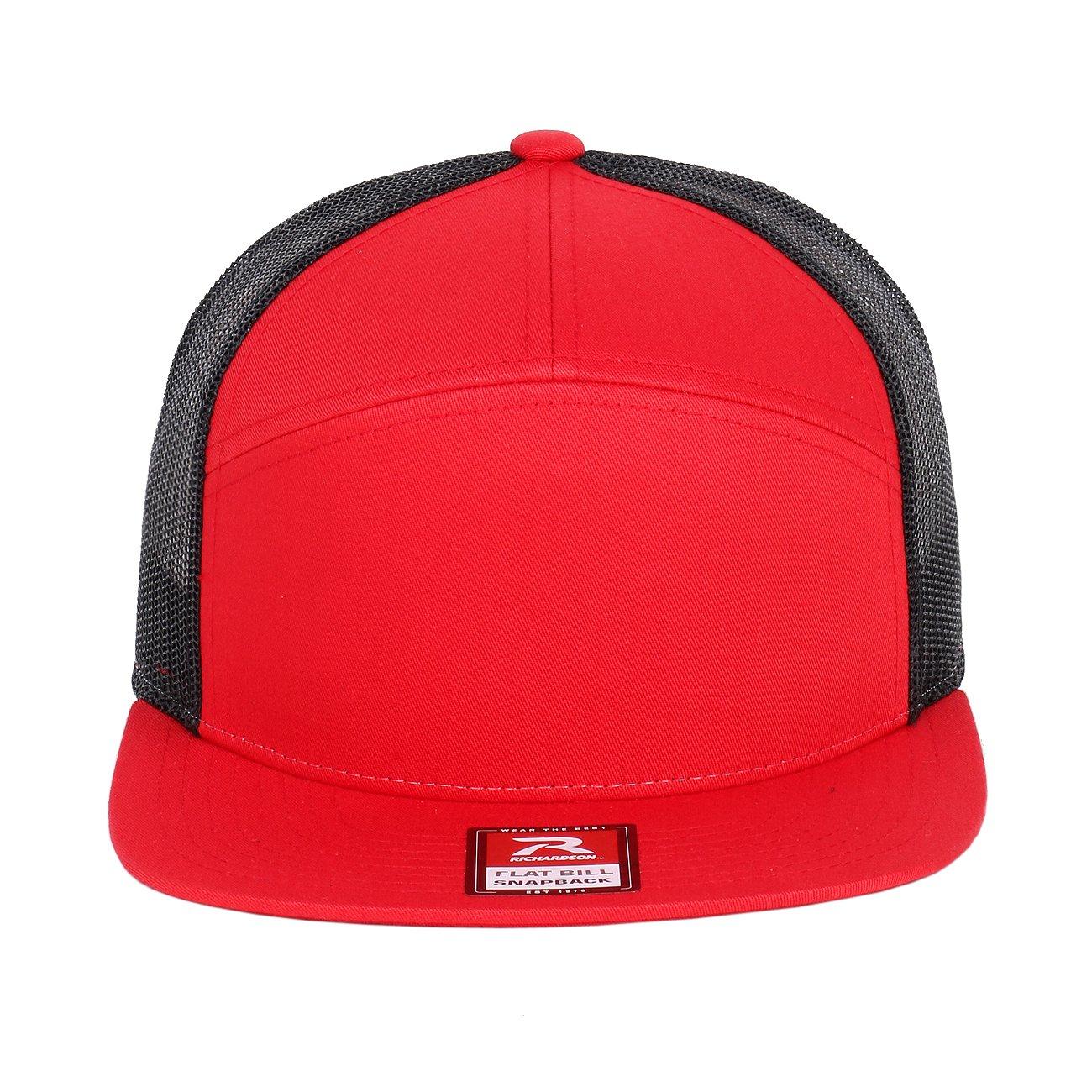 a33fa7c41984cb Richardson 7 Panel Arch Flat Bill Snapback Mesh Trucker Hat (Red-Black) at  Amazon Men's Clothing store: