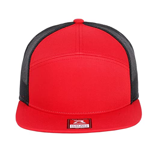 f481e5448302c Richardson 7 Panel Arch Flat Bill Snapback Mesh Trucker Hat (Red-Black) at  Amazon Men s Clothing store