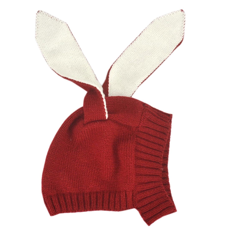 Elonglin Unisex Baby Toddler Kids Thickening Knitted Rabbit Ear Beanie Hat Bunny Ear Cute Cap Winter Warm For 3-18 months Gray EL.MZ0421-C