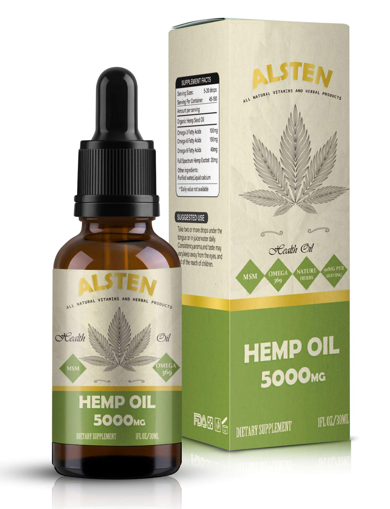 Hemp Oil for Pain Rlief,TOPNaturePlus Anxiety & Stress Relief - 5000MG of Hemp Extract by TOPNaturePlus