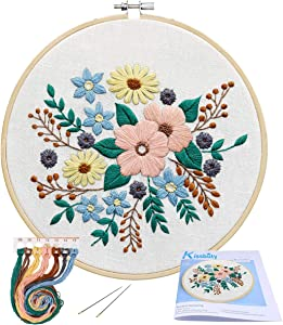 Full Range of Embroidery Starter Kit with Pattern, Kissbuty Stamped Embroidery Kit Including Embroidery Cloth with Pattern, Bamboo Embroidery Hoop, Color Threads Needle Kit (Floral)