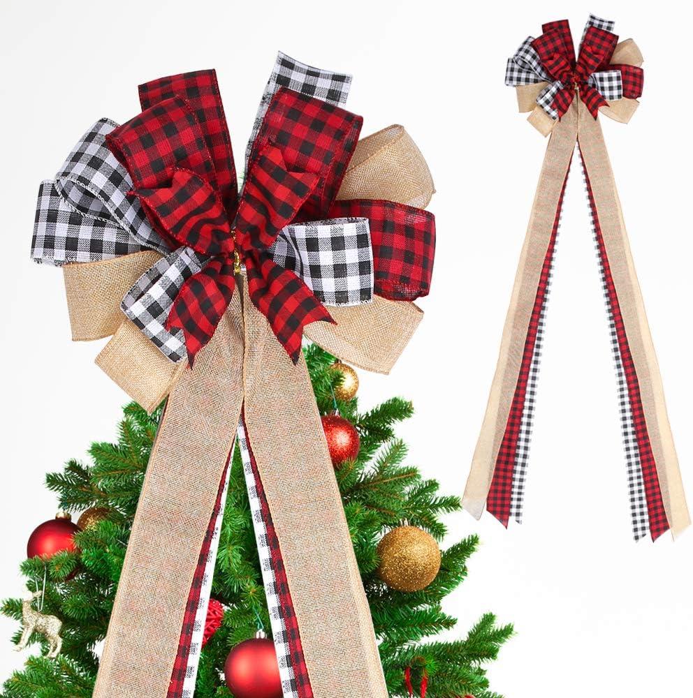 Christmas Tree Topper Bow, Red Buffalo Plaid Tree Topper Farmhouse Christmas Decor, Burlap Wreath Bows Xmas Tree Topper Rustic Handmade Tree Toppers Christmas Decorations (White/Black Check)