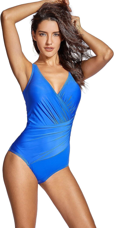 DELIMIRA Donna Costume da Bagno Costume Intero Modellante a Profondo V Costumi