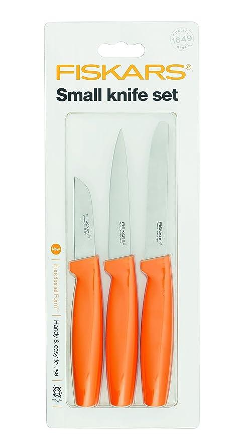 Fiskars Set de cuchillos pequeños 3 unidades, Acero de calidad/Plástico, Naranja, Functional Form, 1014272