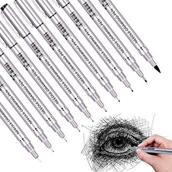 Waterproof Archival Ink Fine Point Micro Pen Sketching Precision Black Micro-Liner Fineliner Ink Pens Illustration Multiliner Office Documents/&Scrapbooking 10Pcs//Set Technical Drawing Anime