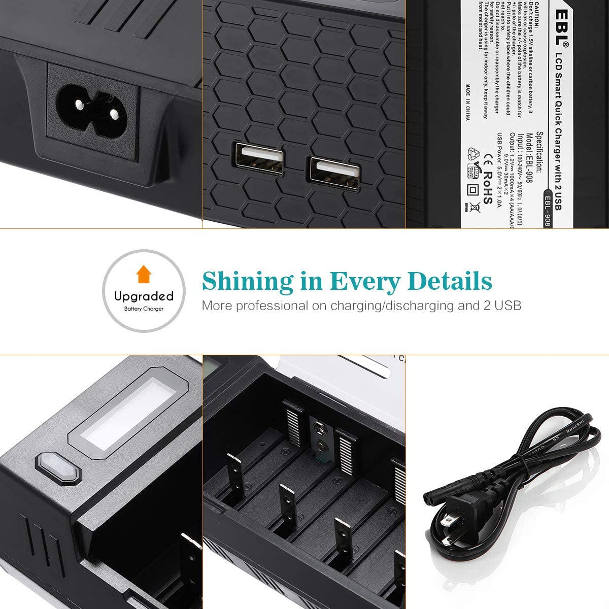 Ultra Fit AA AAA C D 9V NiMH Rechargeable Batteries EBL C D Battery Charger Discharger with LCD Display /& 2 USB Port