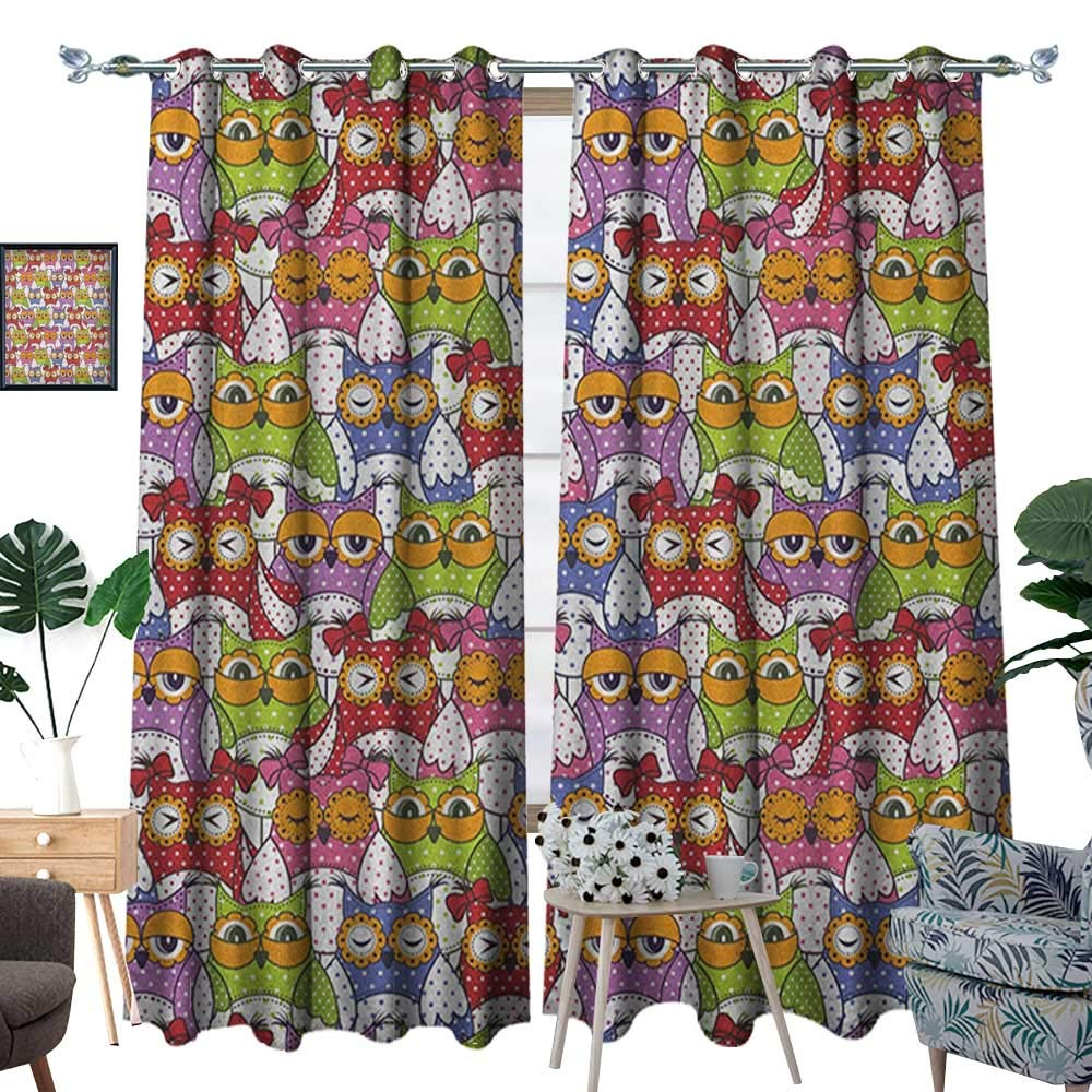 Warm Family Owl Patterned Drape for Glass Door Ornate Owl Crowd with Different Sights and Polka Dots Like Matryoshka Dolls Fun Retro Theme Waterproof Window Curtain W72 x L96 Multi by Warm Family