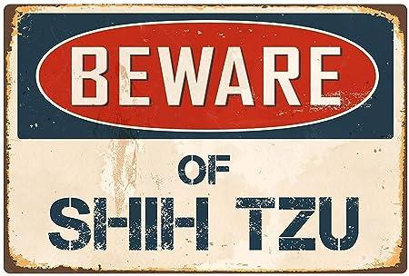 Froy Beware Shih Tzu Pared Cartel de Chapa Retro Hierro ...