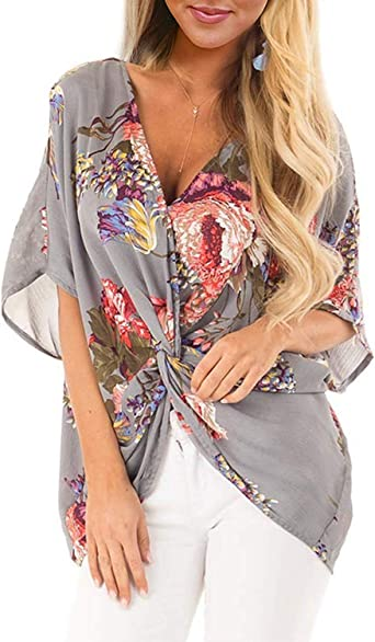 Benficial Womens Loose Recreational Printed Short Sleeve V-Collar Summer Shirt 2019 Summer