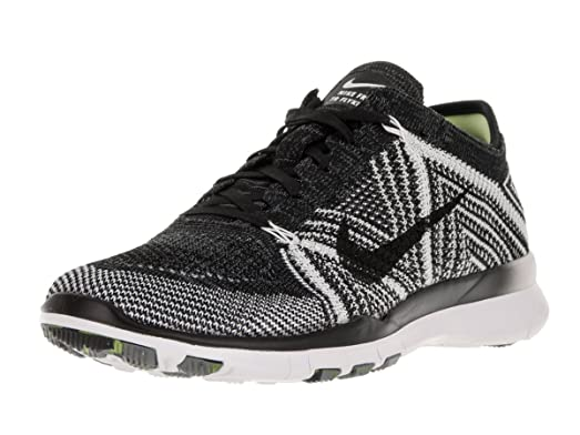 Nike Womens Free Tr Flyknit Black/Black/White/Volt Running Shoe 8.5 Women