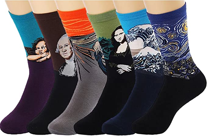 UCLEVER Calcetines para Hombre, Pintura Famosa Medias Algodón Calcetín (6 Pares Estilo A): Amazon.es: Ropa y accesorios