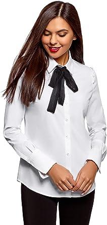 oodji Ultra Mujer Camisa de Algodón con Lazo en Contraste