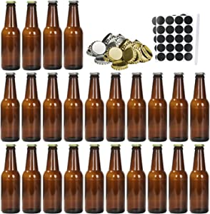 Beer Bottles, COMUDOT 8 Oz Personalized Amber Glass Wine Bottles, 24PCS Creative Brown Beer Brewing Bottles with 24 Silver & 24 Gold Lids, Perfect for Home Brew, Party