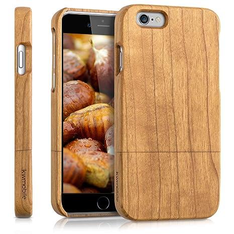 kwmobile Funda para Apple iPhone 6 / 6S - Carcasa Protectora de [Madera] para móvil - Case [Duro] en [marrón Claro]