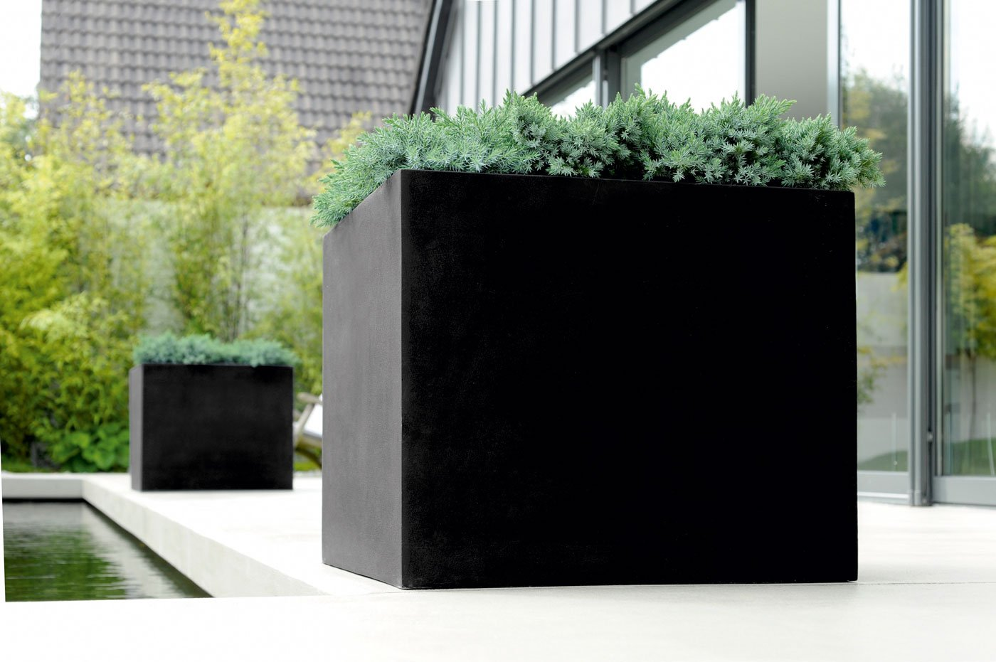 Emsa 800055 Blumenkübel Pflanzkübel Übertöpfe Lisburn schwarz 47cm