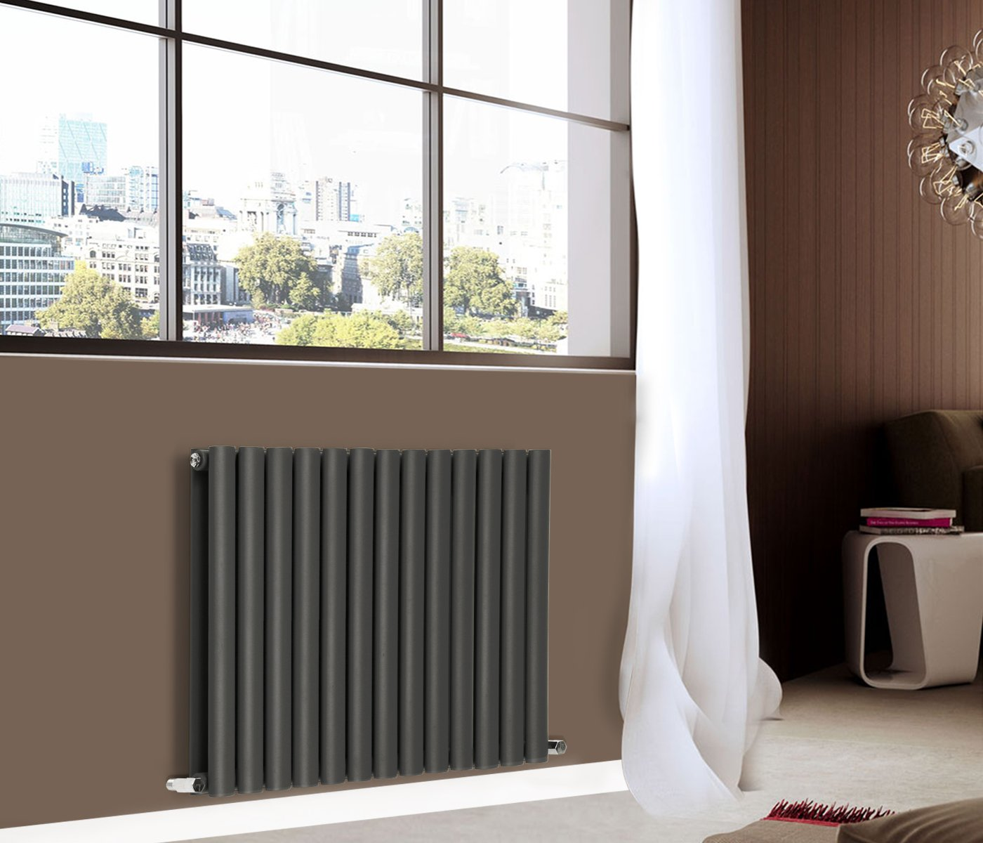 NRG 600x1180mm Oval Column Designer Radiator Double Panel Anthracite Bathroom Central Heating Manufactured for NRG-Radiator