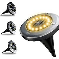 【GARANTÍA DE POR VIDA】4 Unidades, Luz Solar De Jardín 16 LED Luz 100 Lm, 600 mAh Batería Integrada Impermeable IP65…