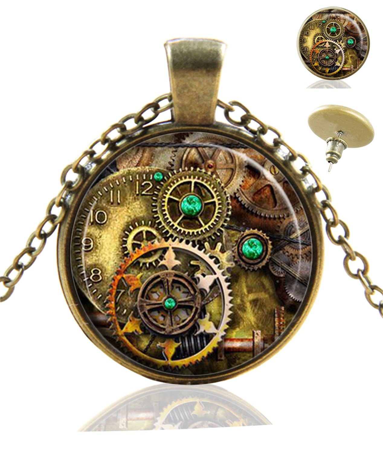 Heilong Gear Steampunk Custom Design Alloy Bronze Pendant Necklace Stud Earrings Set Gift 3