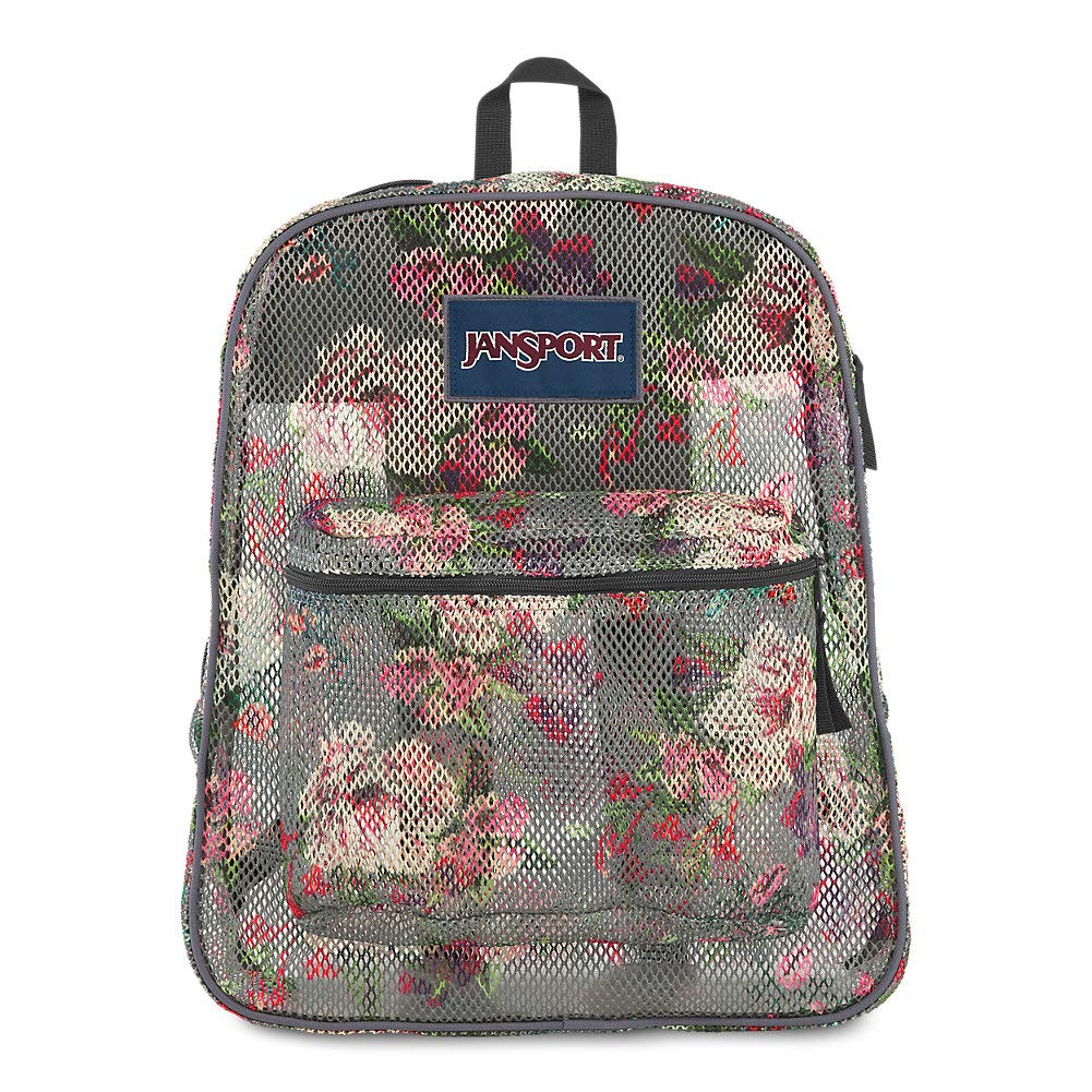 JanSport Mesh Pack - See Through Backpack   Grey Bouquet Print