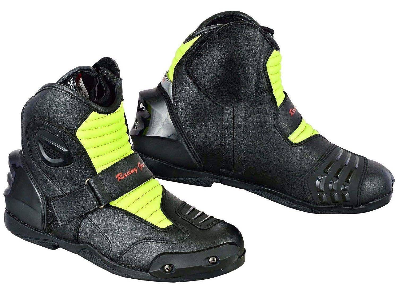 Moto Bottes Moto Chaussures Motard Racing Stylist Court Bottines de Moto Piste Touring Chaussures /étanche blind/é pour Homme gar/çon Rider Noir Noir 9 UK