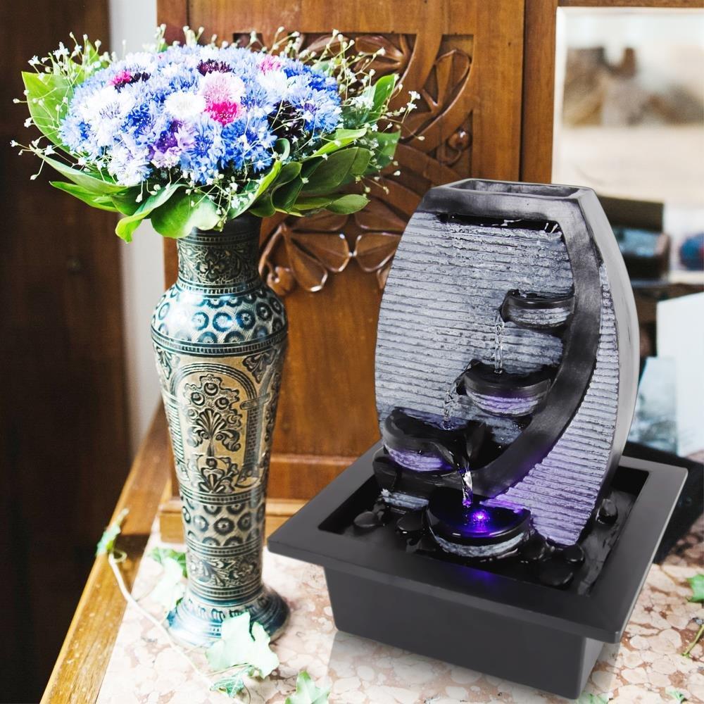 SereneLife 4 Tier Desktop Electric Water Fountain Decor W/ LED   Indoor  Outdoor Portable Tabletop Decorative Zen Meditation Waterfall Kit Includes  ...