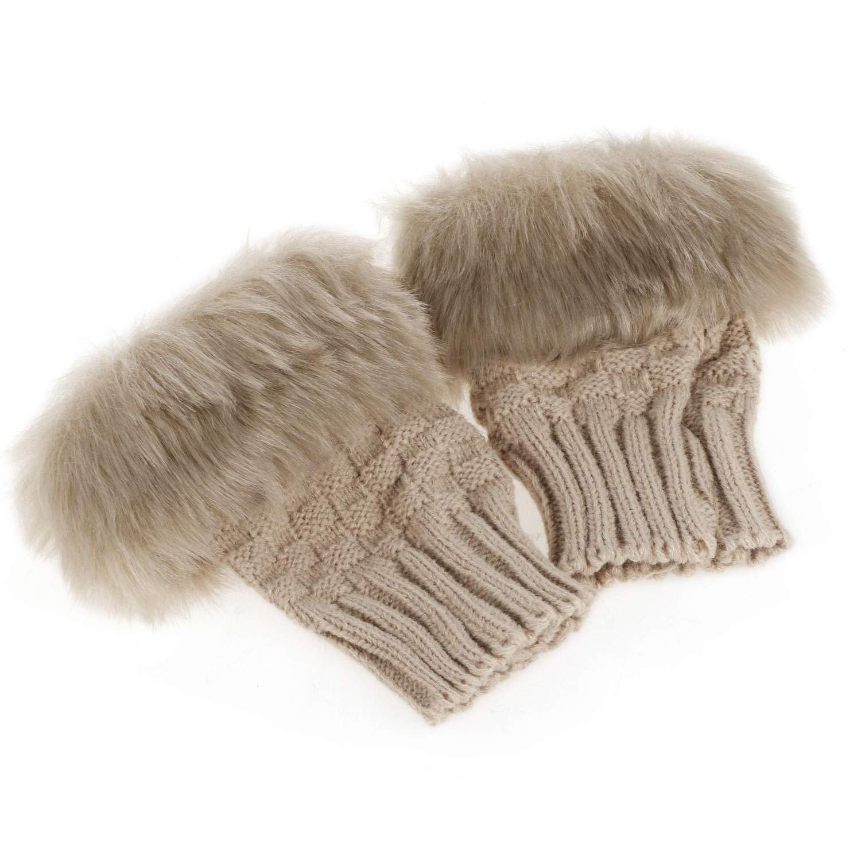 Youcoco Women Winter Rabbit Gloves Arm Warmer Fingerless Wrist Gloves