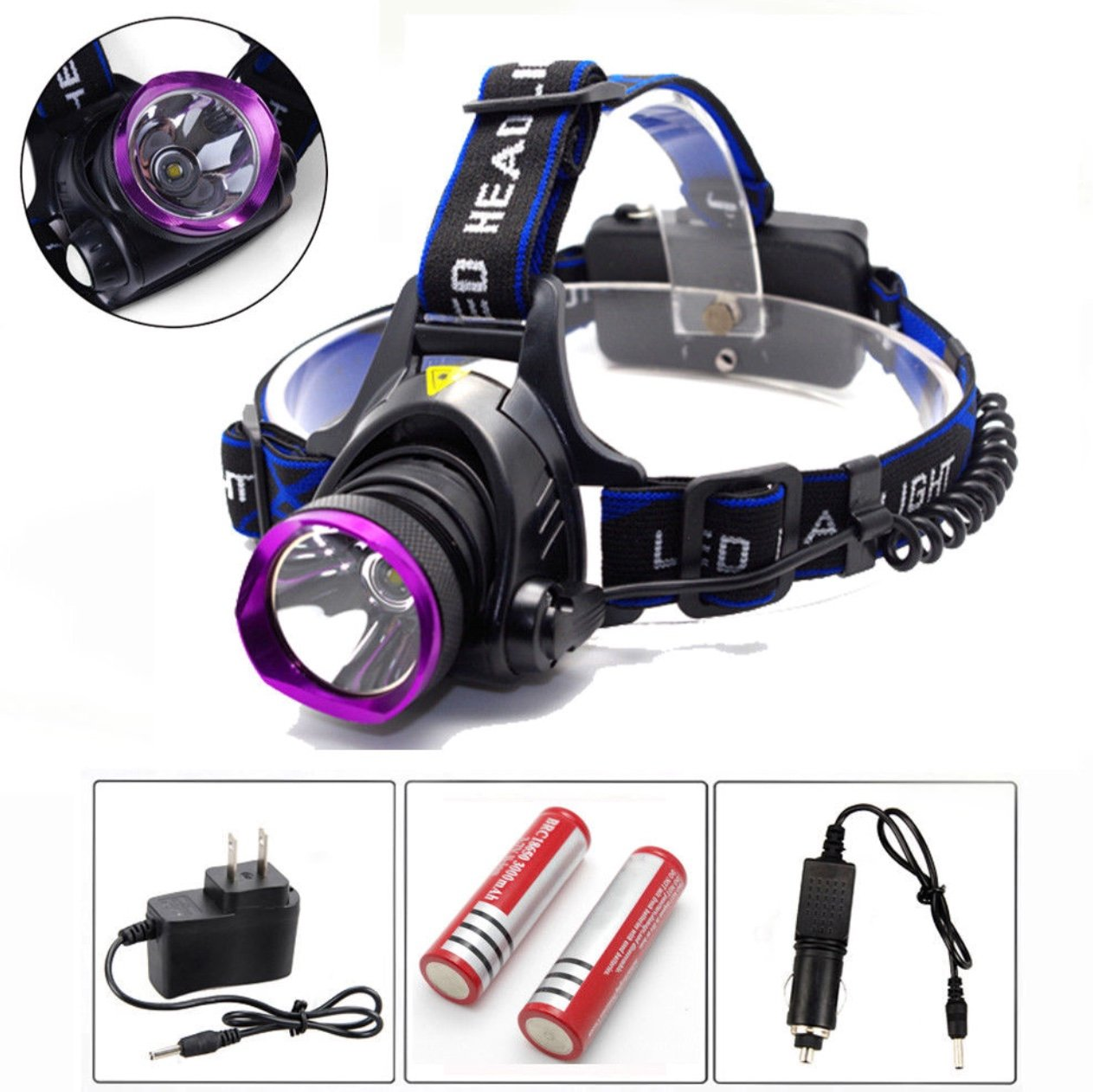 5000LM LED Rechargeable Headlight Head Lamp + 2Pcs 18650 + Charger best for adventure