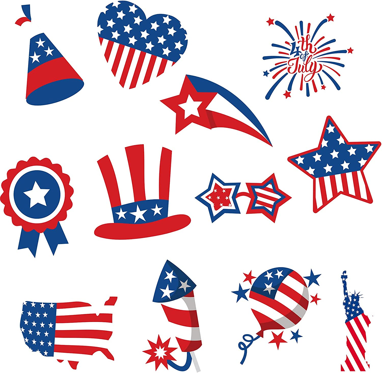 Whaline 48Pcs 4th of July Cut-Outs Patriotic American Flag Cut Outs with 100pcs Glue Points Cartoon Stars Stripes Heart Firework Paper Cut-Outs for Independence Day Classroom Bulletin Board Decor