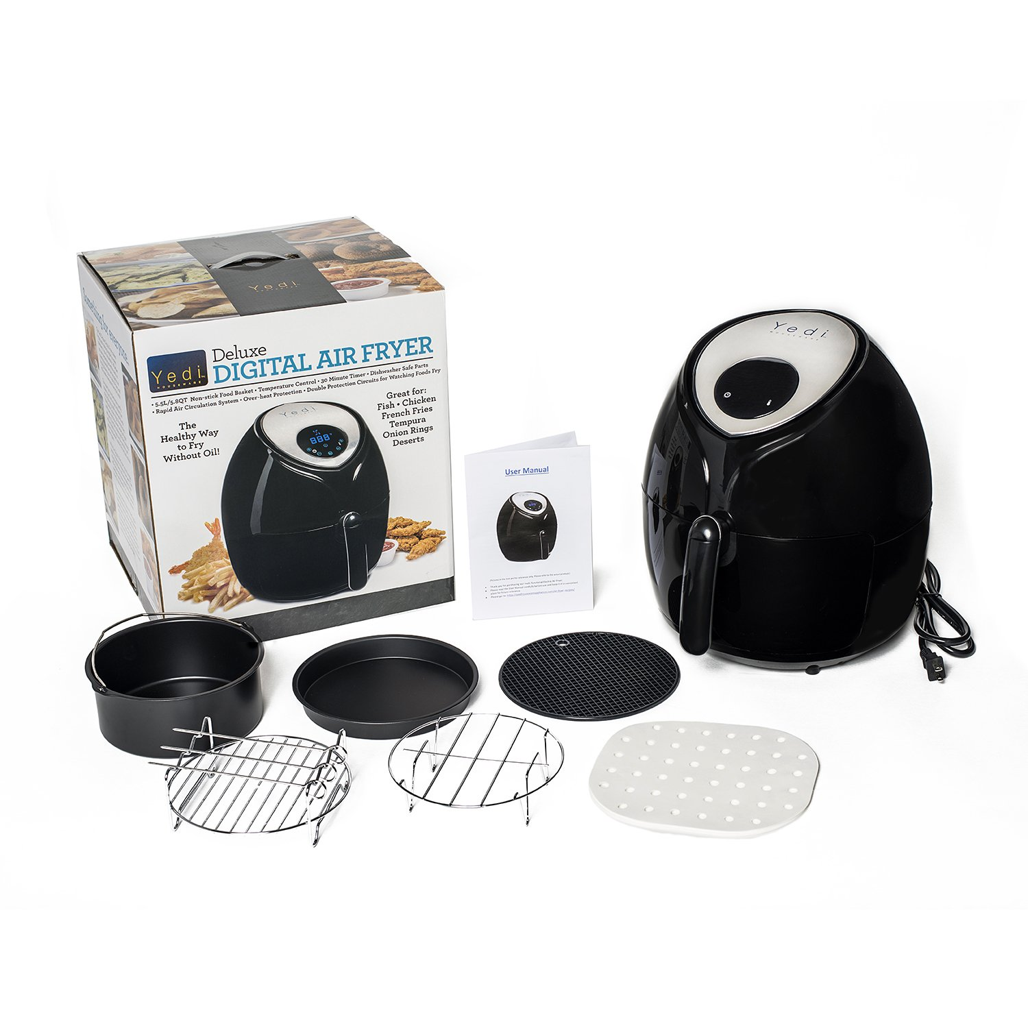 Air Fryer, 5.8 Quart Size, with 50 perforated steaming papers, 8 inch cake carrel, 8 inch pizza pan, multi-purpose rack, 3 stainless steel skewers, metal holder, & rubber mat by Yedi Houseware by YEDI HOUSEWARE