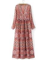 Eloise Isabel Fashion vestido de chiffon dress impressão tribal longo manga solta chique maxi dress plus
