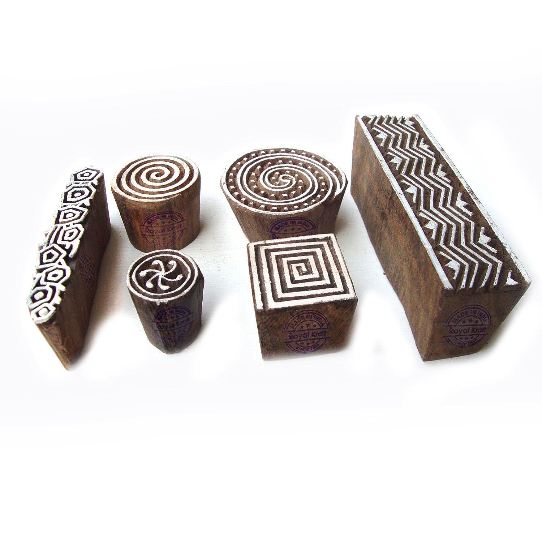 Royal Kraft Fatto Mano Spirale e Geometrico Designs Legno Stampa Timbri (Set di 6) Htag0098