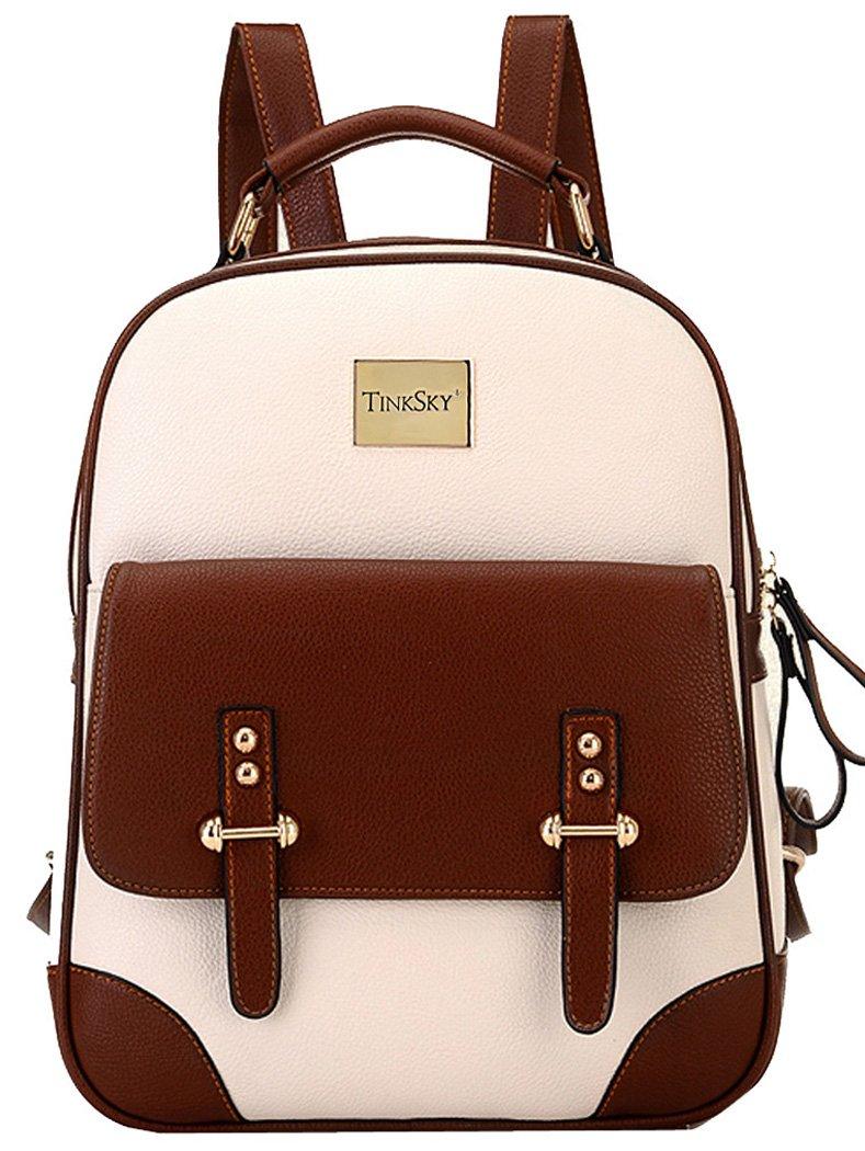 Tinksky® Women Backpack Shoulder Bag Travel Bag Ladies Leather Vintage School Bag (344 Blue)