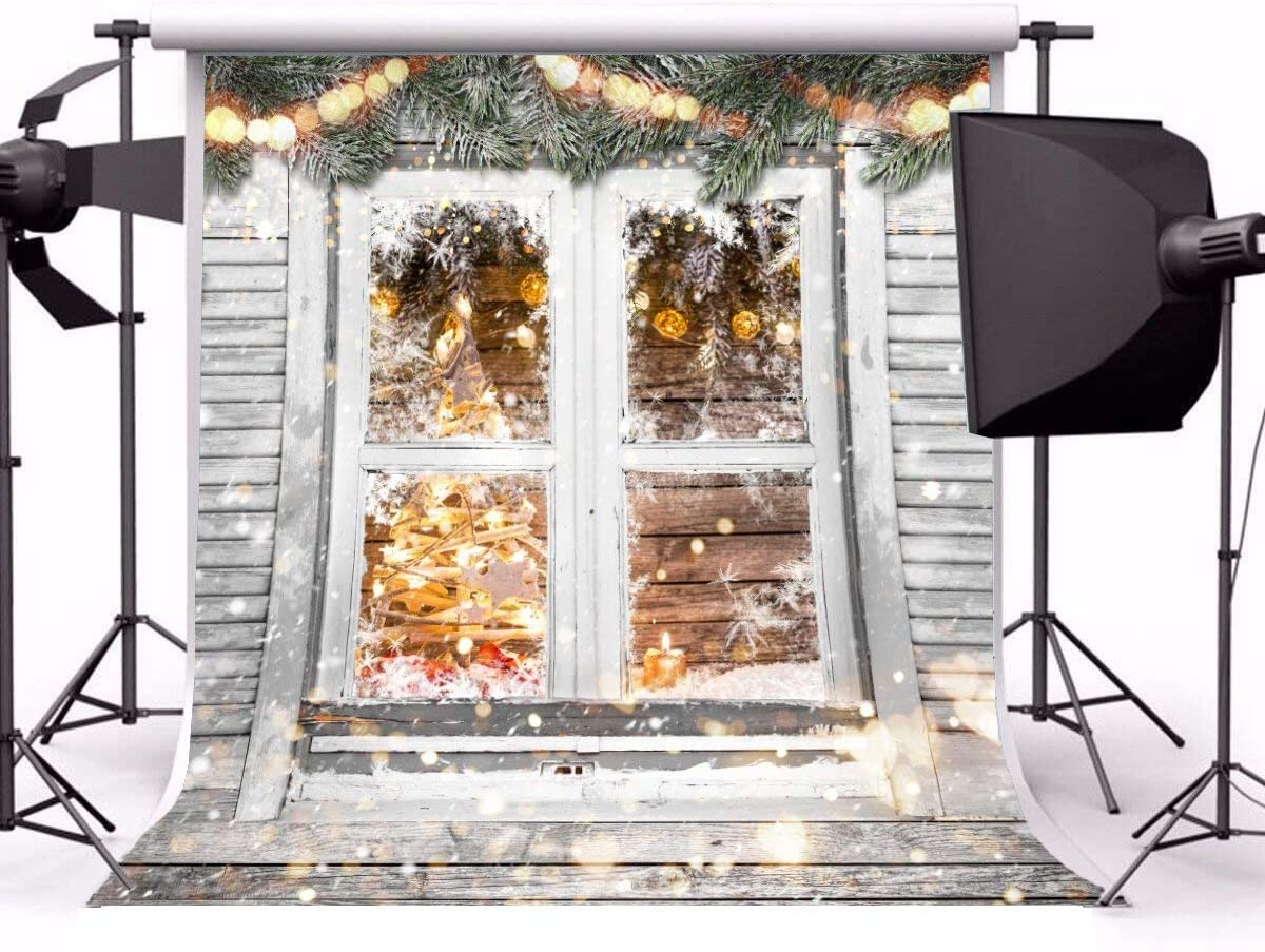 8x8ft Polyester Photography Backdrop Christmas White Window Theme Outdoor Snowing Snowflake Green Pine Branch Fairy Lights Scene Photo Background Children Baby Adults Portraits Backdrop