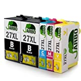 JARBO Kompatibel Epson 27XL Tintenpatronen (2 Schwarz,1 Cyan,1 Magenta,1 Gelb) Hohe Kapazität kompatibel zu Epson Workforce WF 3620 3640 7610 7620 7110 Drucker