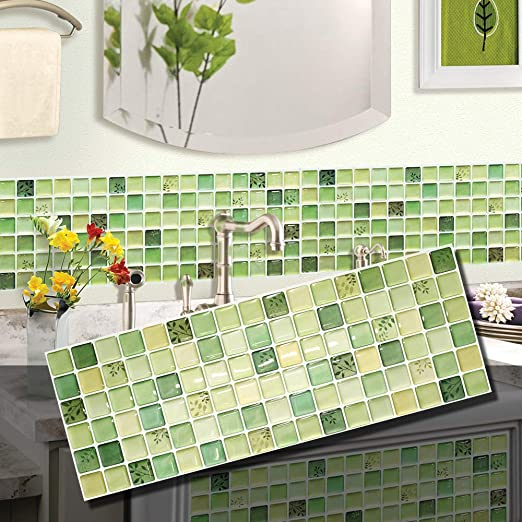 Amazon Com Beaus Tile Decorative Tile Stickers Peel And Stick Backsplash Fire Retardant Tile Sheet Green 2 5 28 X 14 8 Home Kitchen