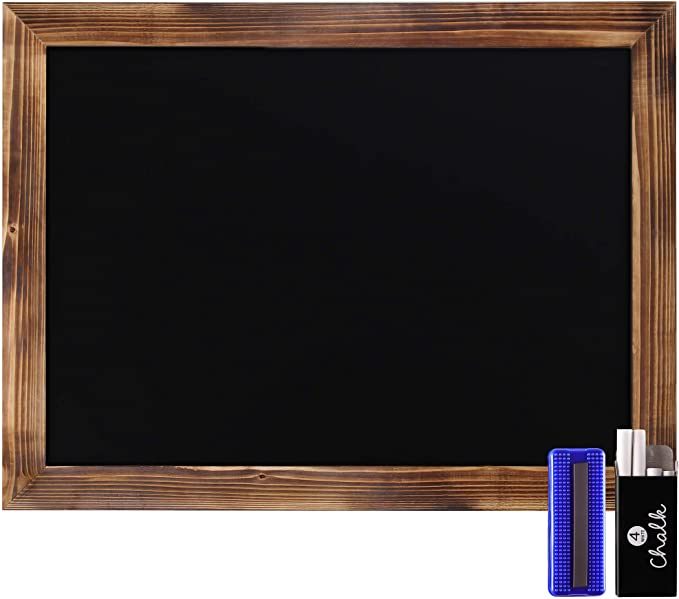 "Rustic Torched Wood Magnetic Wall Chalkboard, Large Size 18"" x 24"", Framed Chalkboard - Decorative Magnet Board Great for Kitchen Decor, Weddings, Restaurant Menus and More! … (18"" x 24"")…"