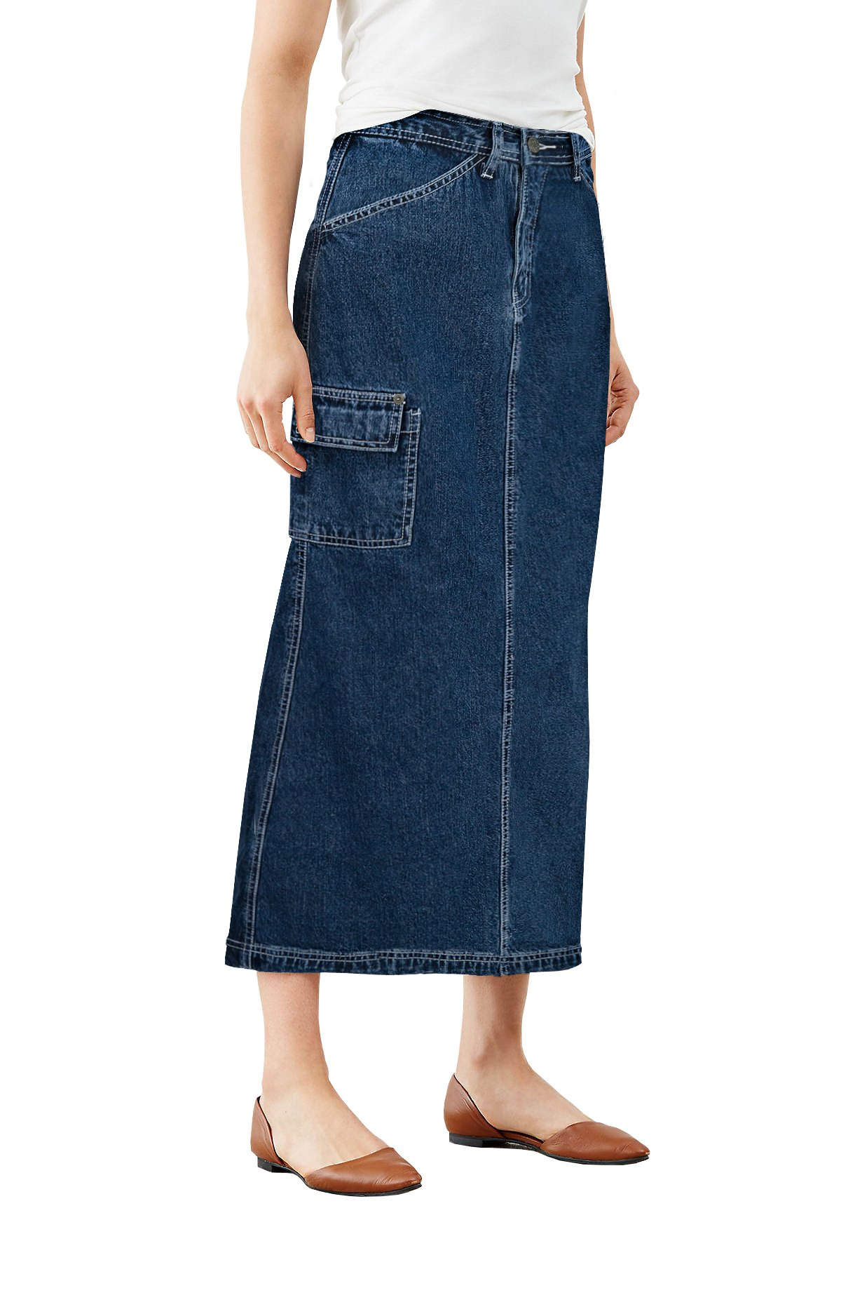 Womens Super Comfy Long Denim Maxi Skirt SK152708 Dark Wash 9