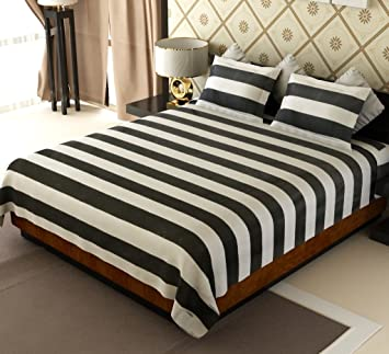 Superbe Buy Home Candy 144 TC Stripes Cotton Double Bedsheet With 2 Pillow Covers    Black And White Online At Low Prices In India   Amazon.in