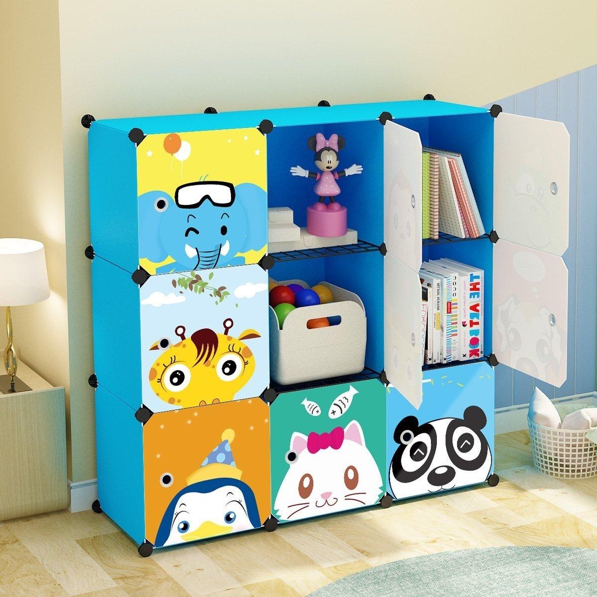 KOUSI Portable Kids Bookshelf Children Toy Organizer Multifuncation Cube Storage Shelf Cabinet Bookcase, Capacious & Study, Blue:9 Cubes