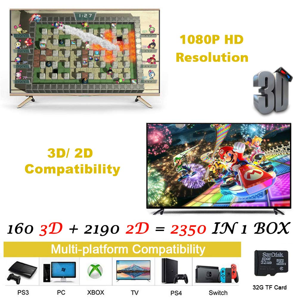 MOSTOP 3D & 2D Arcade Video Game Console 2350 Games in 1 Pandora's Box 160 3D Games 1080P HD 2 Players Arcade Machine with Double Joystick Support Expand 6000+ Games for PC/ Laptop/ TV/ PS4 (Colorful) by MOSTOP (Image #3)