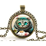 Alice in Wonderland Pendant Necklace, Cheshire Cat Jewellery for Women