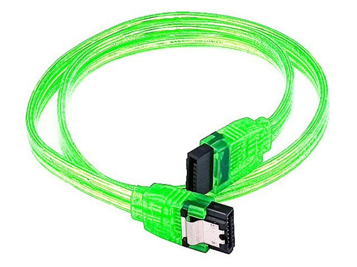 eDragon 18inch SATA 6Gbps Cable w/Locking Latch - UV Green - 20 Pack, ED91734
