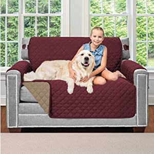 Sofa Shield Original Patent Pending Reversible Chair Protector, Many Colors, Seat Width to 48 Inch, Furniture Slipcover, 2 Inch Strap, Chairs Slip Cover Throw for Pet Dogs Kids, Armchair, Burgundy Tan