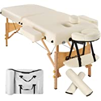 TecTake Table Lit de Massage Pliante Portable épaisseur de coussin 7,5cm + Rouleau + Demi-rouleau - diverses couleurs au choix - (Beige   No. 400420)